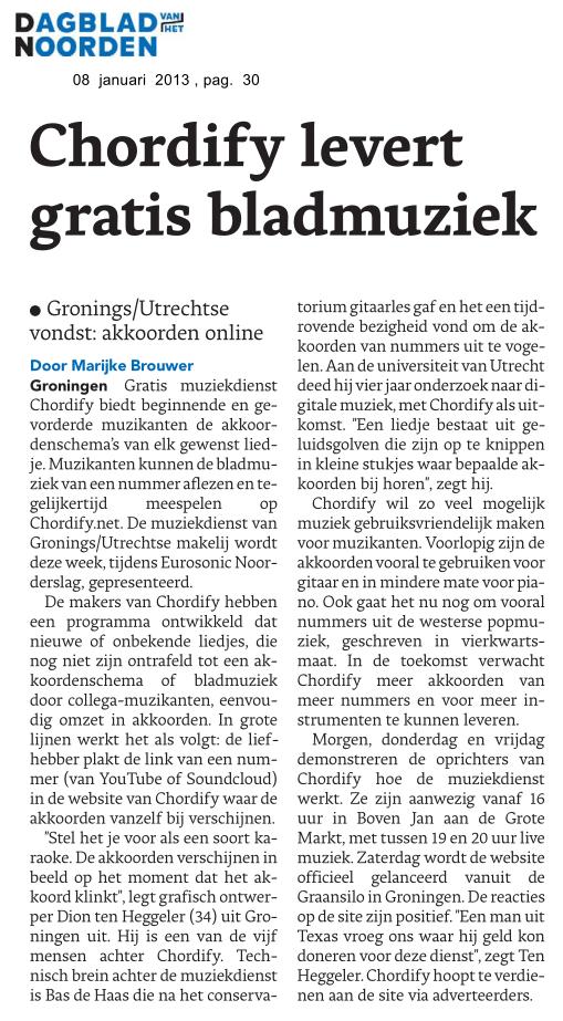 Chordify at the Dagblad van het Noorden