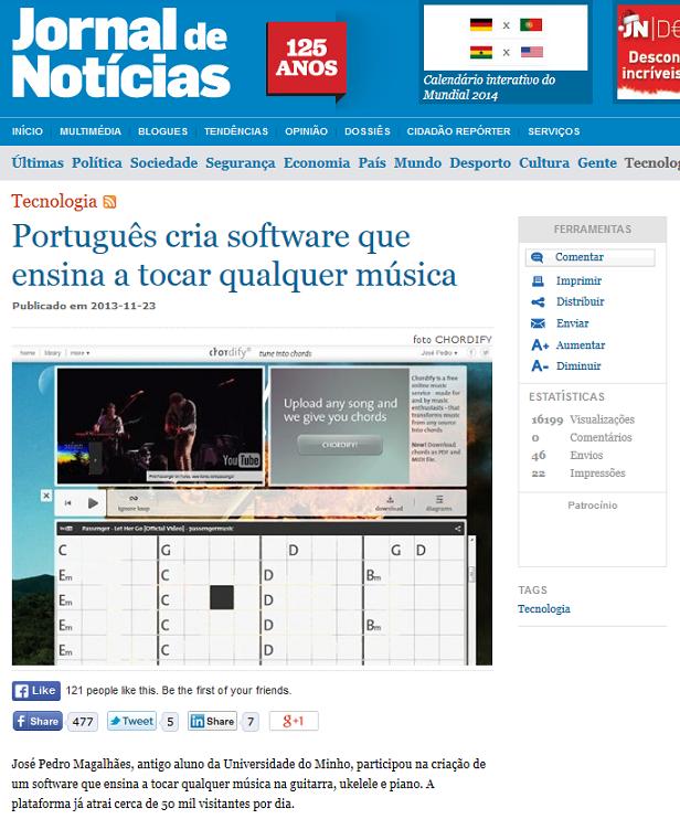Chordify on Jornal de Notícias