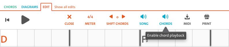 Chordify - chord editing with chord playback