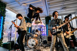 ESNS Bad Nerves live session: sometimes wearing a helmet on stage is a good idea